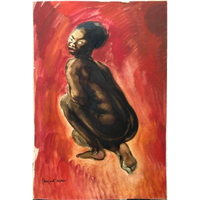 Jacques NAM 1881-1974 femme noire sur fond rouge Africanisme