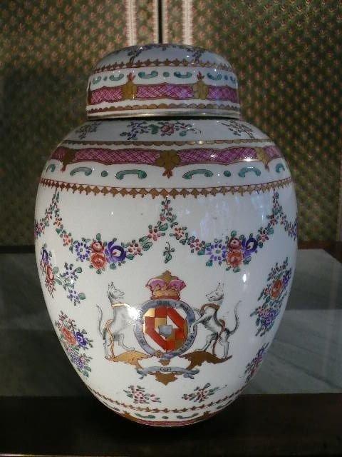 Grand Pot Couvert Porcelaine De Paris Atelier Samson d'époque Milieu Du XXème Siècle