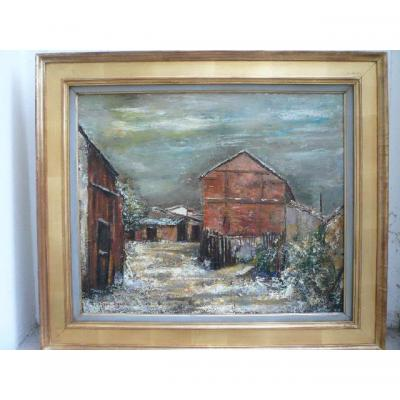 "Tony Agostini  (1916- 1990) ""maison Sous La Neige"""