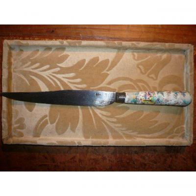 Couteau d'époque Début XVIIIème, Manche En Porcelaine Tendre De St Cloud
