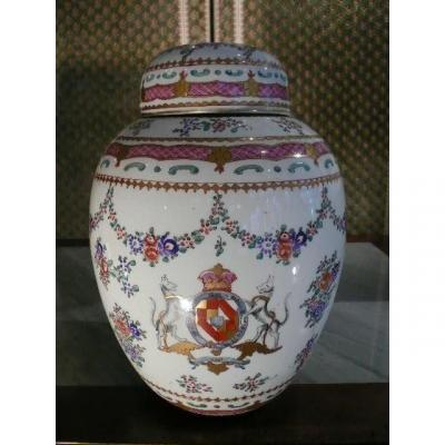 Large Covered Porcelain Pot From Paris Samson Workshop From Mid-20th Century