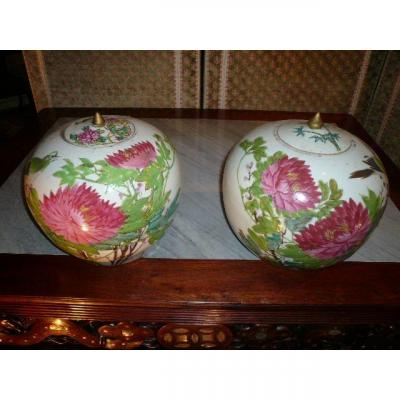 Pair Of Chinese Porcelain Ginger Jars From The Late Nineteenth Century (guangxu Period)
