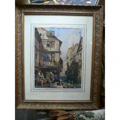 Watercolor: Animated Street Of An Ancient Town In Normandy From The XIXth Century