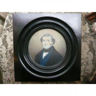 Portrait Of A Companion, Louis Philippe Gouache Signed C. Noyon