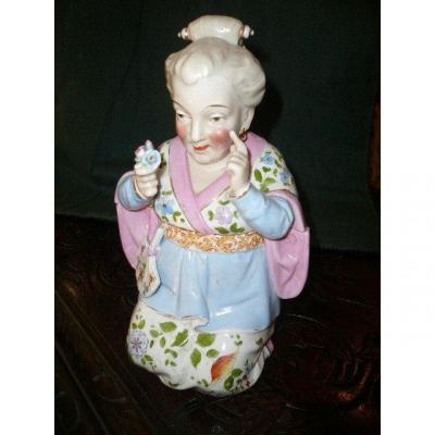 Antropomorphic Porcelain Cookie Jar, XIXth Century