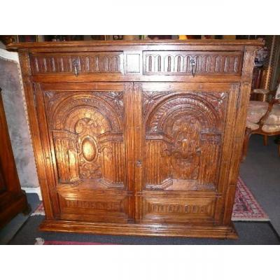 19th Century Carved Oak Support Cabinet
