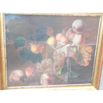 """C .Chatelain  Pastel """"fruits"""" Epoque 2ème Moitié Du XIXème"""