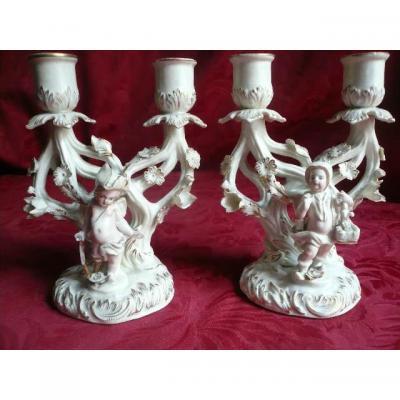 Porcelaine De Plaüe Paire De Chandeliers d'époque Fin Du 19ème Siècle