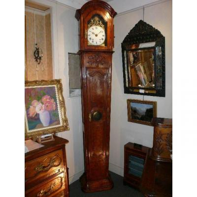 Parquet Clock In Flared Sheath From Late 18th Century / Early 19th Century