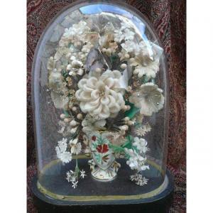 Bouquet De Mariée Sous Globe d'époque Louis Philippe