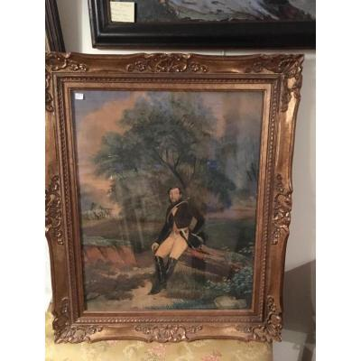 "Aquarelle Gouachee ""veneur"" Datee 1843 Et Signee F.bernard"