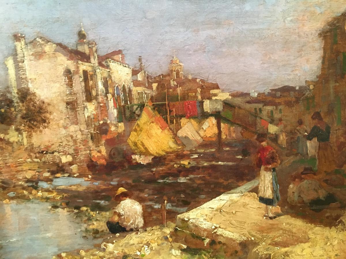 """Oil On Panel """"venice"""" De Bartolozzi-photo-3"""