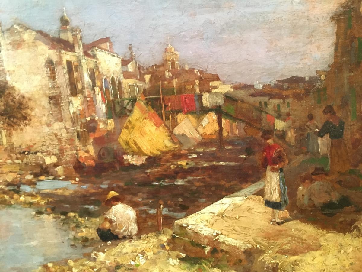 """Oil On Panel """"venice"""" De Bartolozzi-photo-4"""