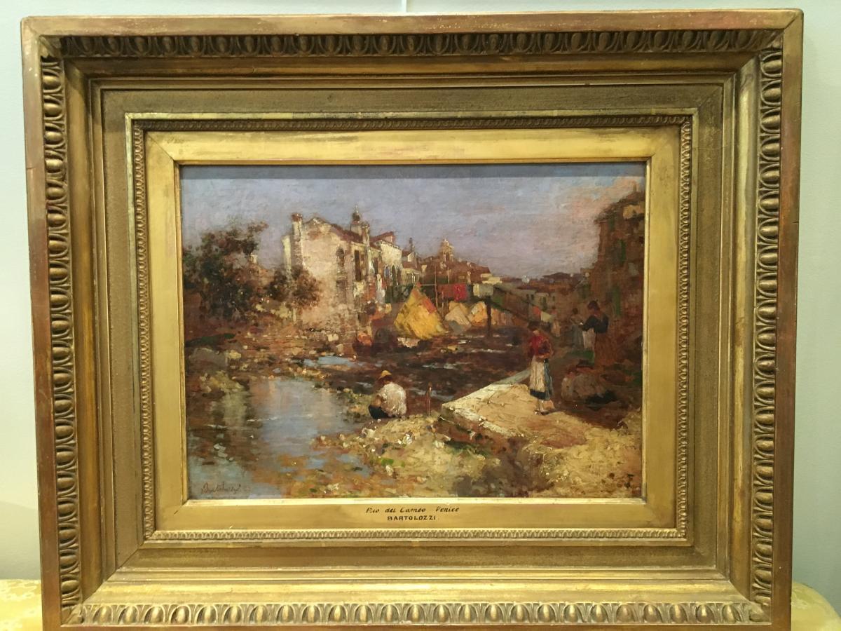 """Oil On Panel """"venice"""" De Bartolozzi-photo-2"""