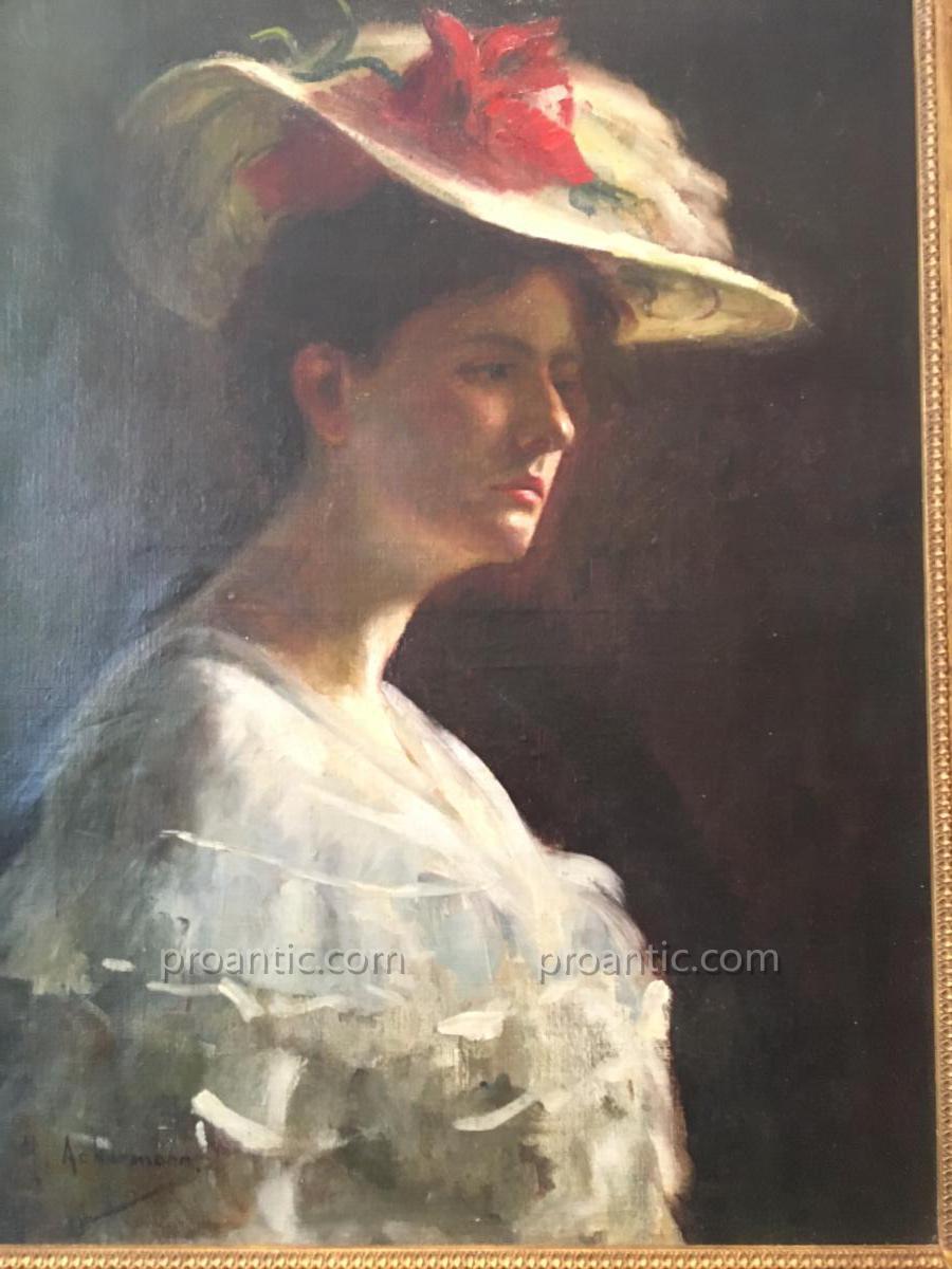 Huile Sur Toile Portrait d'Une Jeune Femme Au Chapeau Signee Ackermann