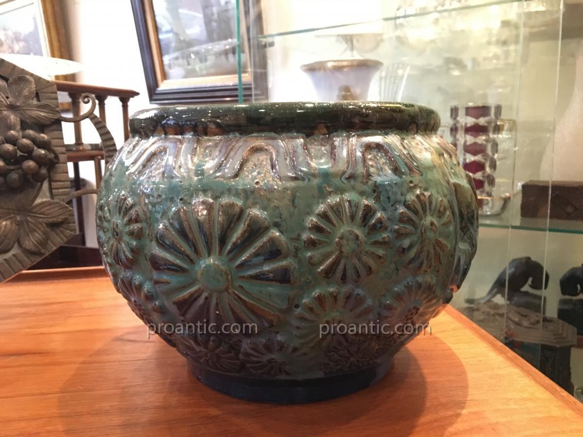 Stoneware Enamelled Flower Pot Signed Gilbert Metenier
