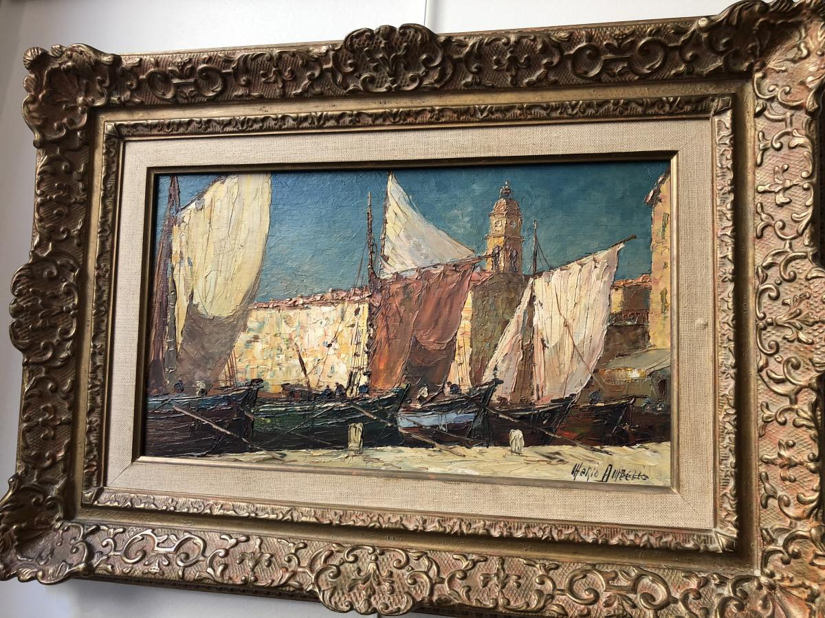 """Oil On Panel """"port Of St Tropez"""" Signed Mario Ameglio"""