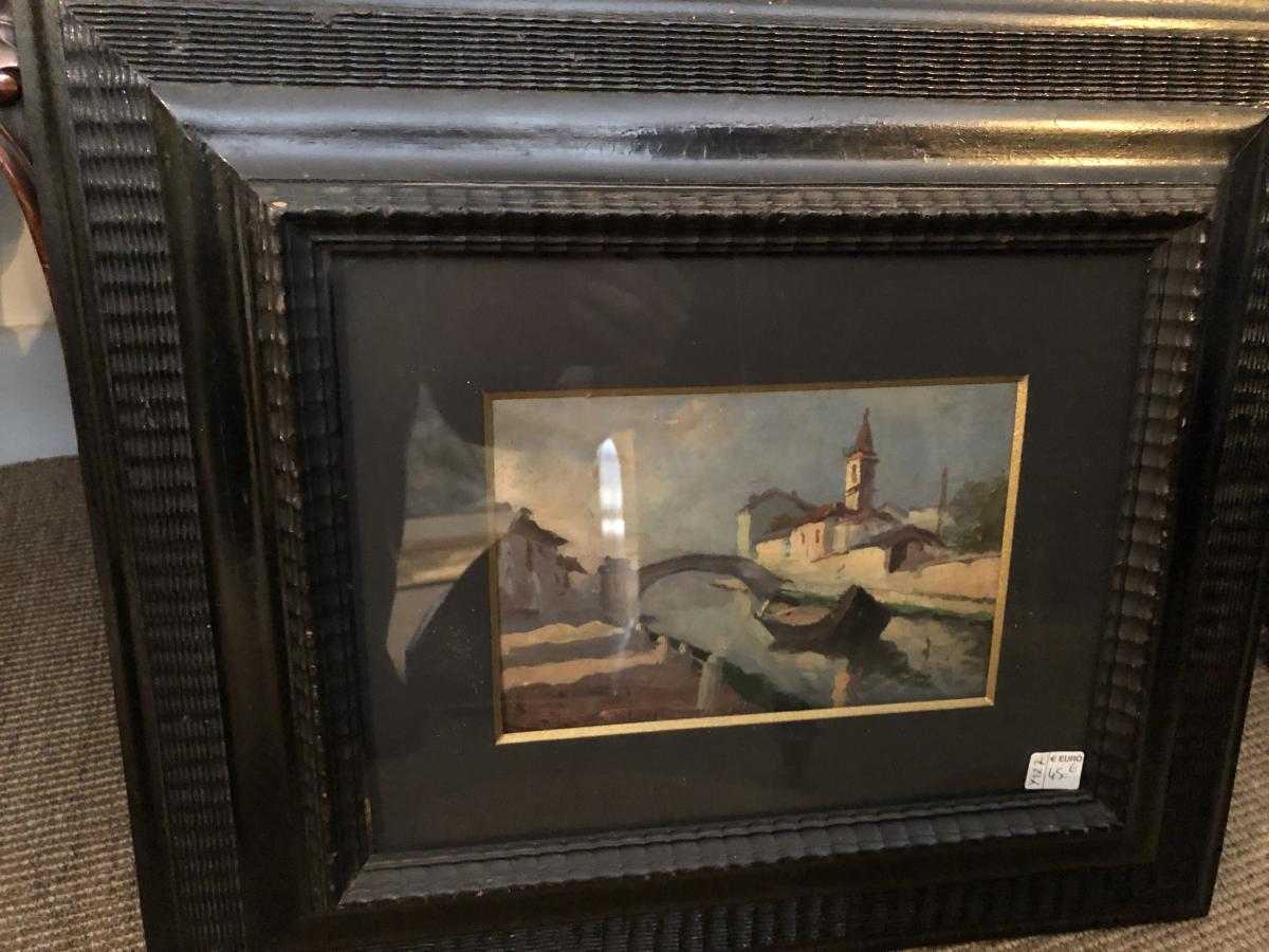 Oil On Paper View Of Venice By E. Amodea-photo-2