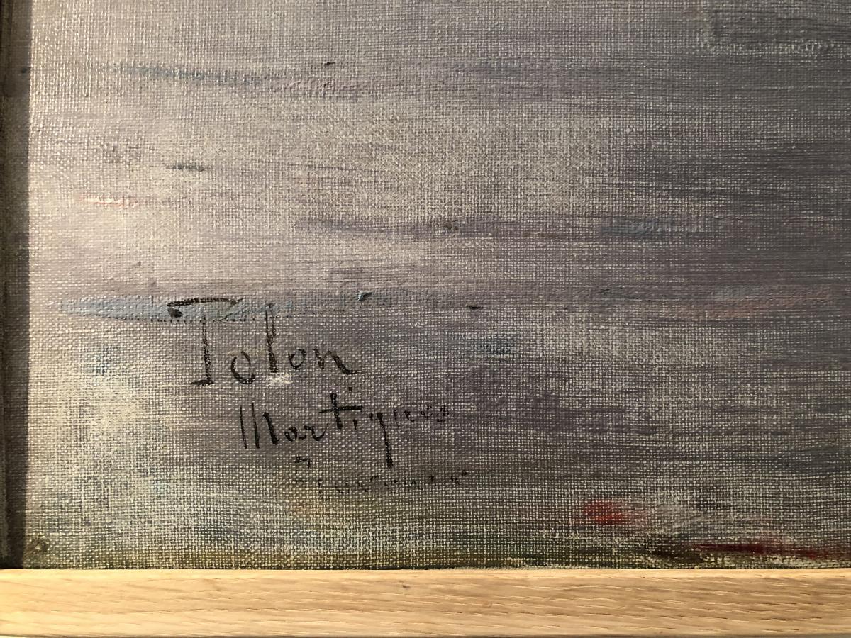 """HUILE SUR TOILE """"LES MARTIGUES""""  SIGNEE EN BAS ET A GAUCHE TOLON -photo-2"""