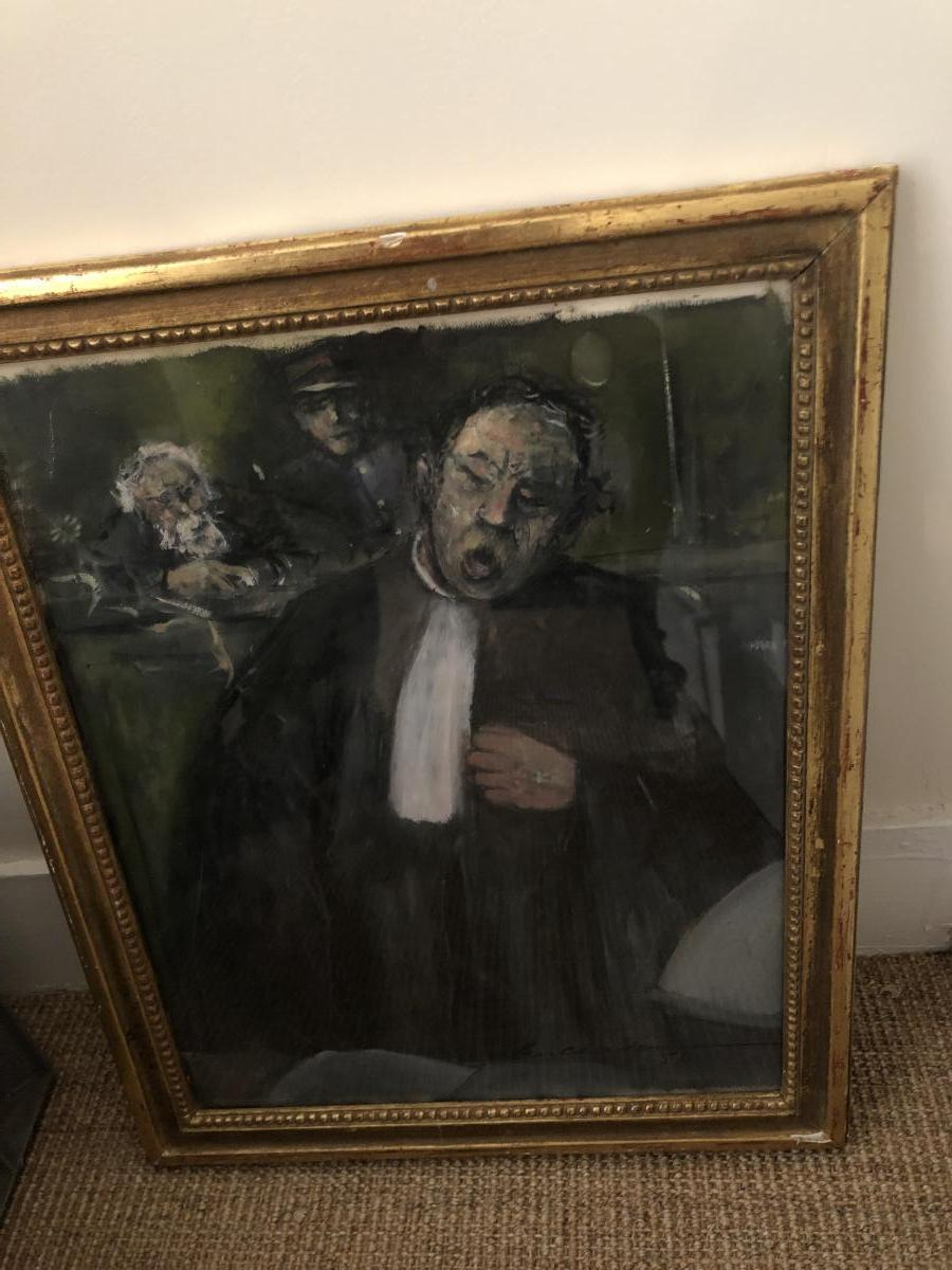 """Oil On Paper """"lawyer"""" Signed Chardonneau Dated 56 And Framed"""