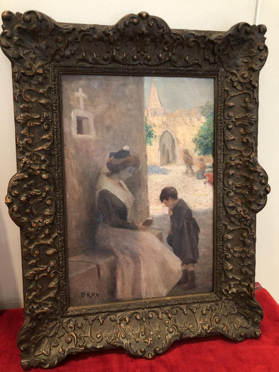 """Huile Sur Panneau """"arlesienne"""" De Brun"""
