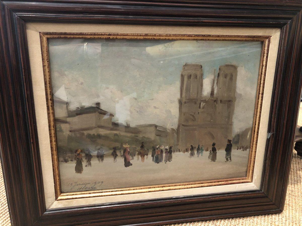 Huile Sur Panneau Notre Dame De Paris Datee 19 JUILLET 1909 Et SIGNEE EN BAS ET A GAUCHE -photo-1