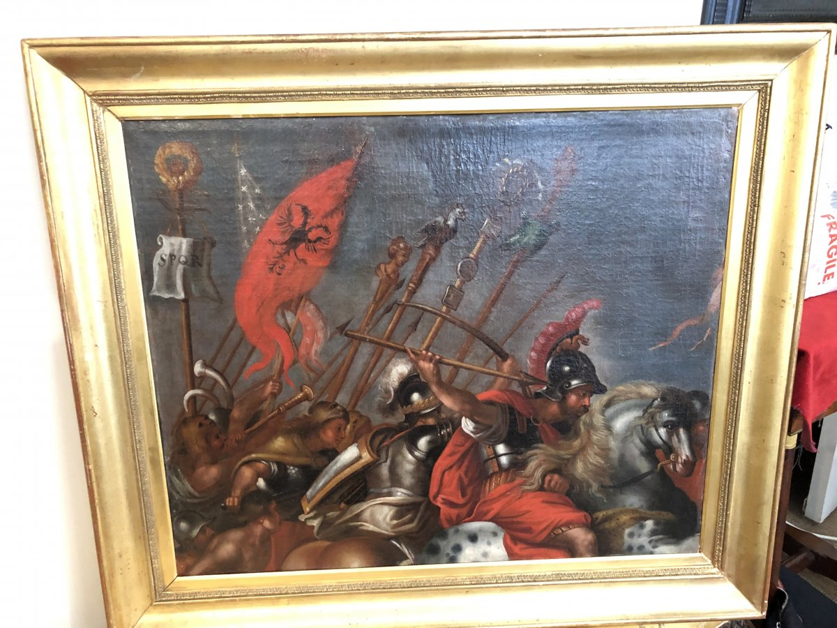 Oil On Canvas Battle Scene Of The Roman Army