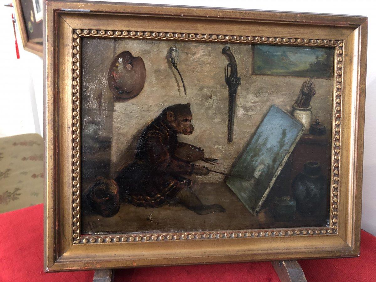 """Oil On Panel  """" Monkey Painting"""" Signed Bottom Left Ag"""
