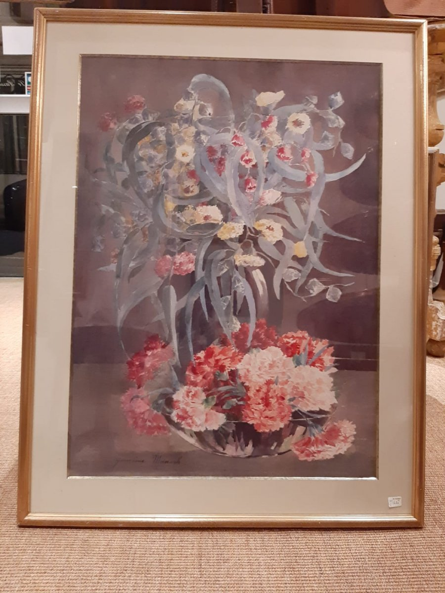 "Watercolor ""flowers"" Signed Germaine Manach"