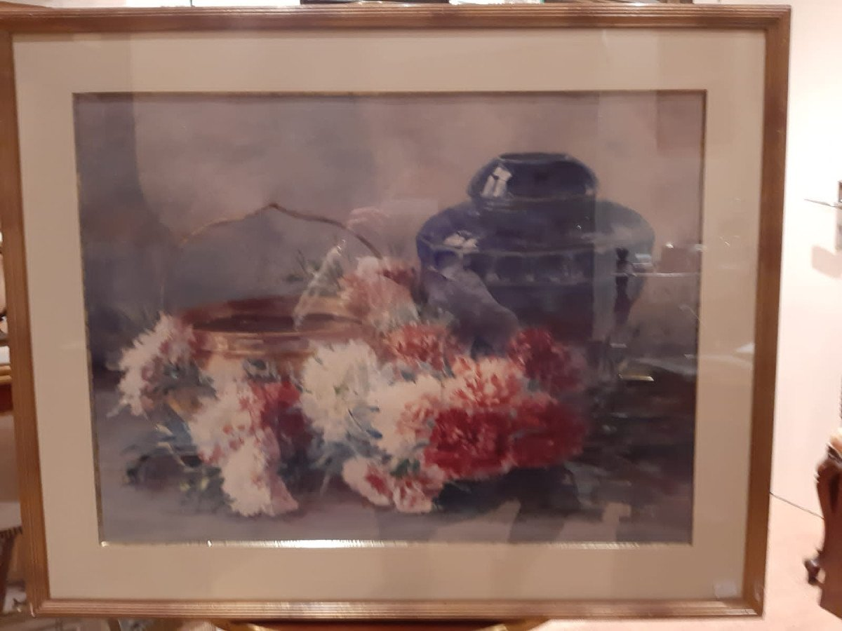 Still Life With Carnations And A Blue Vase Signed Germaine Manach