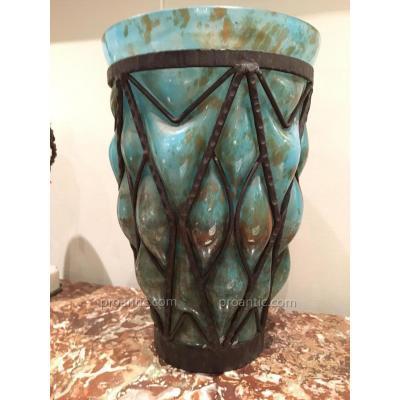 Grand Vase En Verre Marbré Et Fer Forge  Art Déco