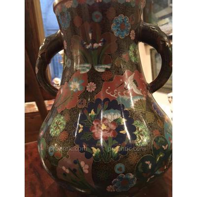 Vase Cloisonne En Bronze Emaillé à 2 anses
