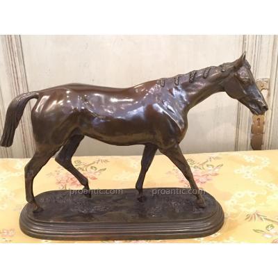 Bronze Cheval De Course d'Isidore Bonheur