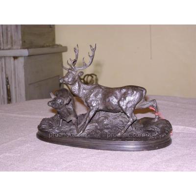 """Bronze """"cerf Et Biche """" de P-J Mene"""
