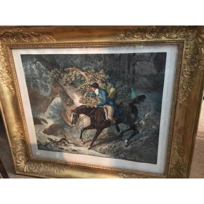 """Gravure """"le Chasseur Egare"""" De Carl Vernet"""