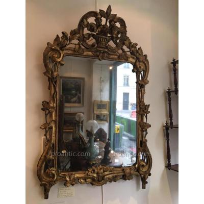Miroir En Bois Sculpte Louis XV, Glace d'Epoque