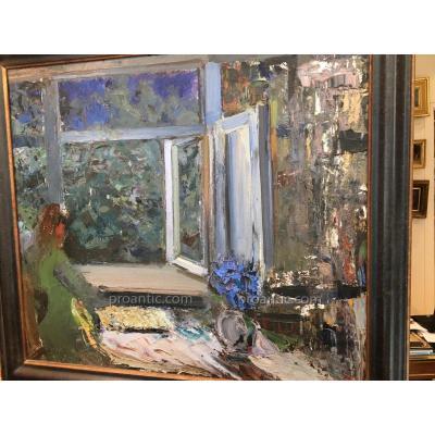 Huile Sur Panneau Scene d'Interieur Bleu Signee Kovadev