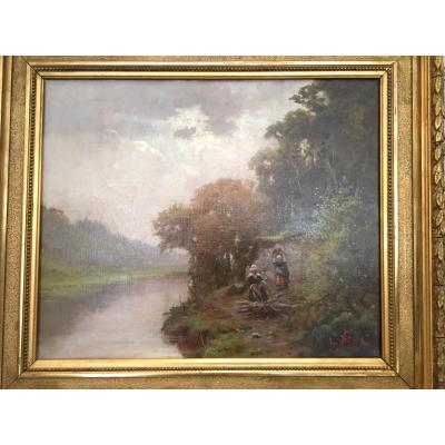 Oil On Canvas Landscape With 2 Women Signed Noel