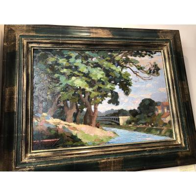 Oil On Panel «along The Seine River» Signed A.f Quinet