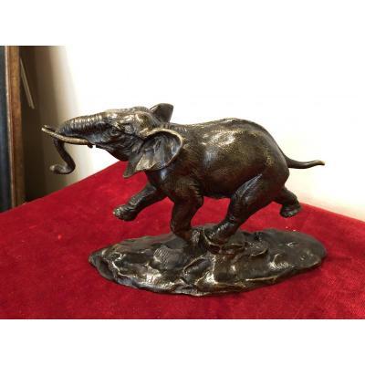 Bronze Elephant By Ernest-louis Adnin
