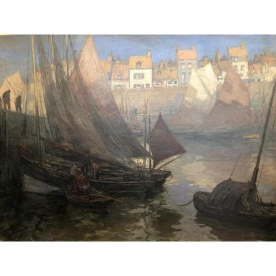 """Oil On Canvas """" A Normandie Harbour""""  Signed Georges Andrique"""