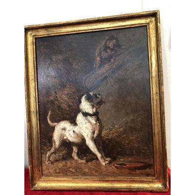 """Huile Sur Panneau """"chien Et Singe Jouant"""" Signee Henri Collins Bispham"""