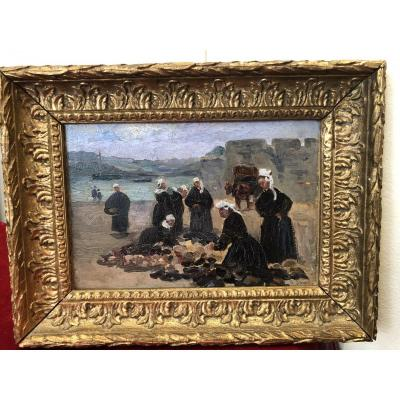HUILE SUR PANNEAU «Bretonnes ramassant le goémon» signée Ph. Long