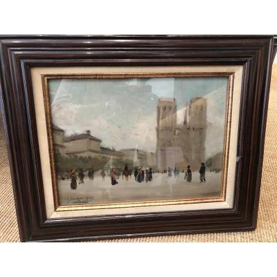 Huile Sur Panneau Notre Dame De Paris Datee 19 JUILLET 1909 Et SIGNEE EN BAS ET A GAUCHE