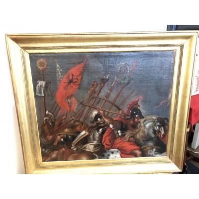 Huile Sur Toile Scene De Bataille De l'Armee Romaine