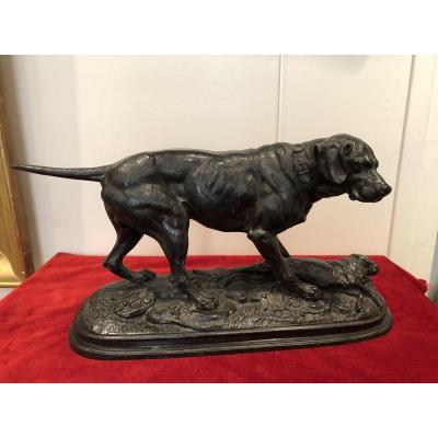 Bronze Labrador And Hare By Delabriere
