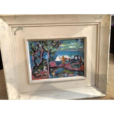 "Oil On Cardboard ""sea Landscape"" Signed Top Right Yvette Alde"