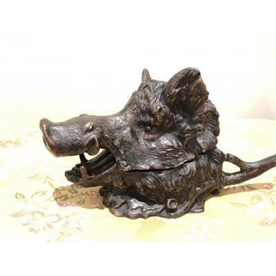 "Bronze Inkwell  ""wild Boar"" By Fratin"