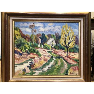 "Oil On Canvas ""spring At Trilport"" Signed Bottom And Right L.neillot 53"