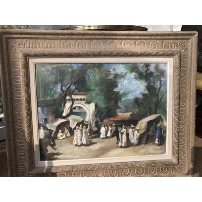 """Pastel """"souk El Djemaa Kabylie"""" Signed Bottom And Right Right Hebuterne"""